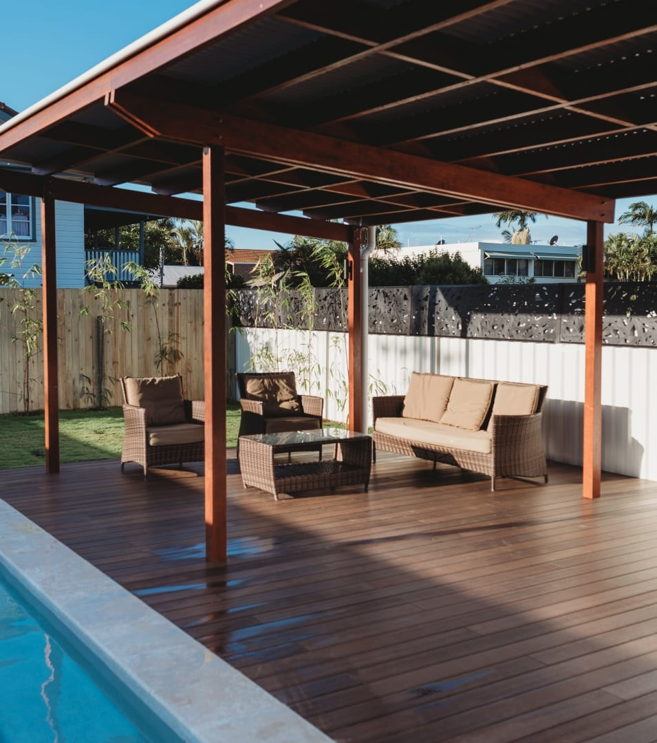 Outdoor deck by the pool