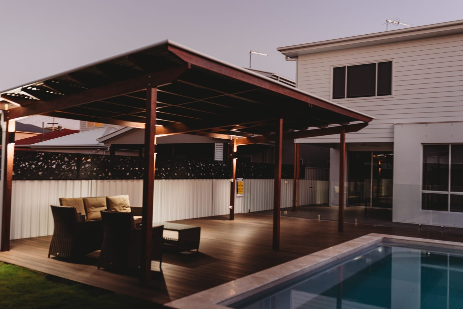 Evening shot of our custom outdoor deck project in Warde
